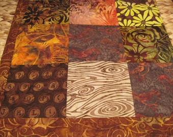 """14"""" x 14"""" Batiks Pillow COVER - 9 Chocoloate Mocha Brown Squares of Nature Surrounding Forest Owl"""
