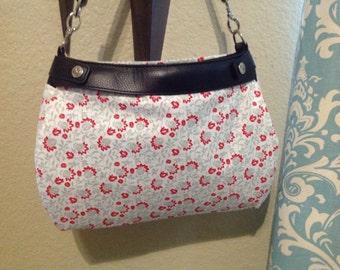 grey and red floral suite purse skirt cover handmade Thirty one
