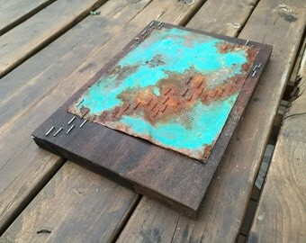 Corrosive Copper  // Original Collage // Wood Panel // Wall Art // Home Decor // Handmade