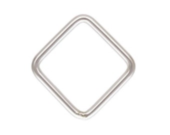 925 Sterling Silver 8mm 20ga Square Closed Jump Rings 10pcs
