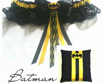 Batman Garter and Ring Pillow Set - ( 6x6 inch pillow )