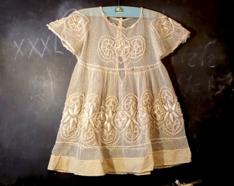 Antique 1900s French Baby Christening Lace Dress. Baptism Dress. Antique Baby Gown