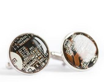 Circuit board Cufflinks - round cufflinks - Geeky groomsmen - palladium plated, resin
