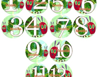 1 to 12 months Baby Monthly Stickers Bodysuit Romper Stickers - Month to Month Baby Stickers Monthly Baby Stickers - HUNGRY CATERPILLAR