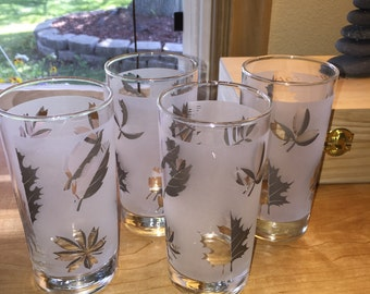 Vintage Libby Frosted Silver Leaf Retro Drinking Glasses  Set of 4
