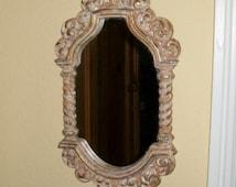 Vintage Syroco Mirror Hollywood Regency Neutral Tone Speckled Finish