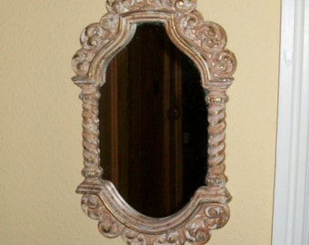 Vintage Syroco Mirror Hollywood Regency Neutral Tone Speckled Finish