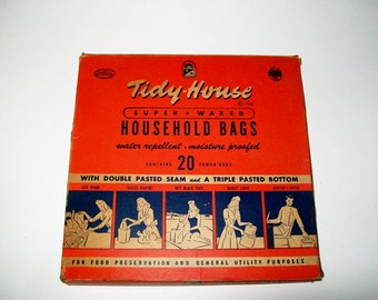 Vintage Tidy House Household Bags Advertising Graphics 1940's
