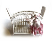 Vintage Decorated Pink Roses White Wicker Basket Bathroom Sundries Toiletries Sun Porch Magazines Cottage Chic