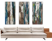 Extra Large wall art set prints blue teal oversized triptych rolled canvas Print trees abstract artwork bedroom living room home decor