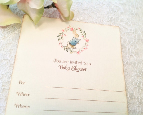 fill in blank peter rabbit baby shower invitations girl baby shower