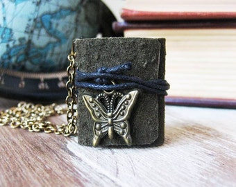 Book necklace jewelry mini book leather hand stitched journal necklace eco friendly  butterfly  jewelry small tiny sewn book