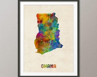 Ghana Watercolor Map, Art Print (2128)