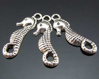 10 Seahorse Charms Antique Silver 22 x 8 mm Ships From The United States - ts699