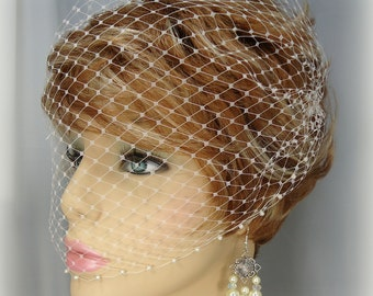 Birdcage Veil, Pearl Accent Bandeau Birdcage Veil, Wedding Veil, Bridal Veils