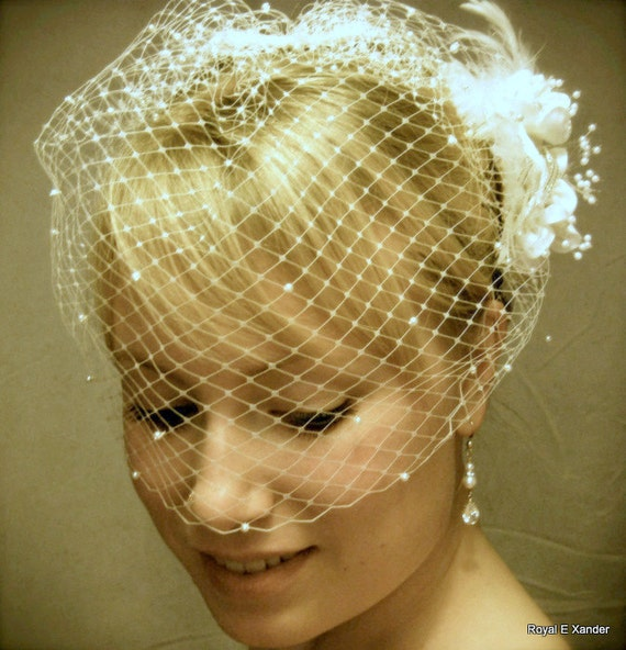 Wedding Birdcage Veil with Pearls, Small Bridal Veil, Russian Veiling, Bird Cage Veil, REX1006