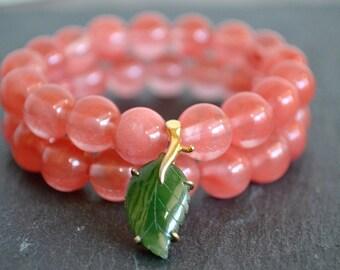 GREEN LEAF CHERRY beaded bracelet
