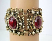 Red Cabochon Bracelet Wide Pearl Gold Tone