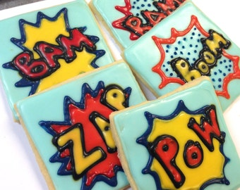 Super Hero Sugar Cookies Zap Boom Pow Iced Decorated Cookie Birthday Party Favor Comic Book Theme