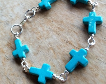 Howlite cross bracelet, handmade with turquoise cross beads