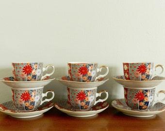 Vintage Imari Tea or Coffee Cup Set Arita Fan Japanese Porcelain Set of Six 6 Chinoiserie Chic Decor