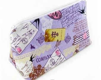 Cosmetic pouch/bag with purple lolita stationary print  japanese fabric kawaii harajuku