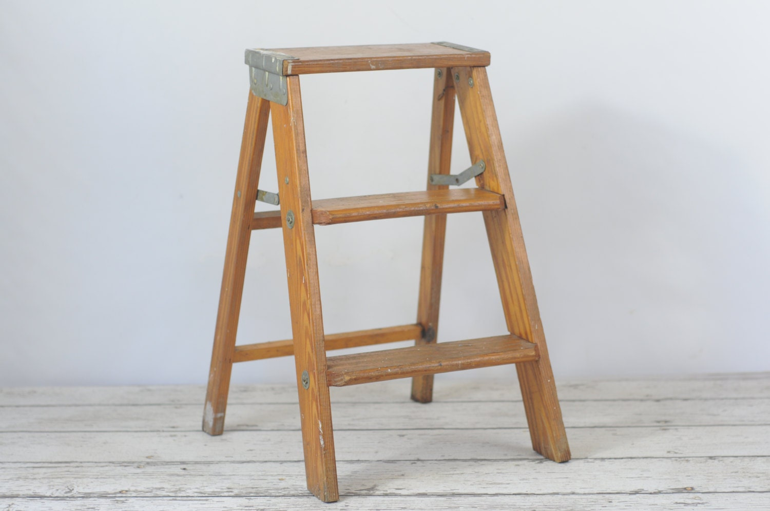 Vintage Wood Ladder Step Ladder Step Stool