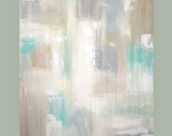 "Art and Collectibles, Painting, Acrylic Abstract Original Art on Canvas Titled: Calm 5 30x40x1.5"" by Ora Birenbaum"