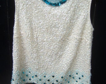 1960s Glittering Sequined & Beaded Ivory Wool Shell Top