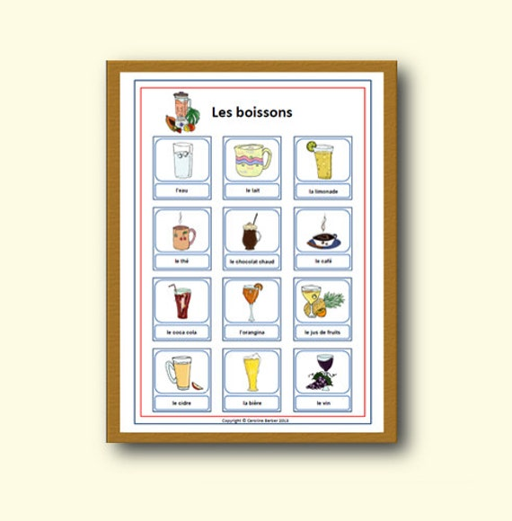 Classroom Decor Etsy : Items similar to french school poster drink vocabulary