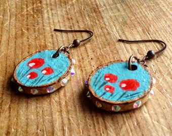 Handpainted cork earrings with red flowers with Swarovski crystals