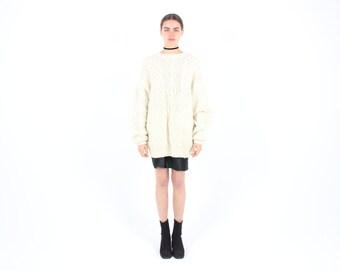 SALE - 80s Chunky Pure New WOOL Hand Knit OVERSIZED + Slouchy Grunge Unisex Cardigan / Sweater Dress