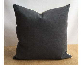 Grey Cotton Fabric Lined Cushion Cover 16 x 16 Throw Pillow Cover