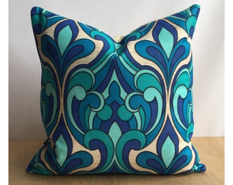 "Vintage Blue Psychedelic Fabric Throw Pillow Cover 16"" x 16"" Retro Cushion Cover"
