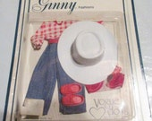 Ginny Doll Clothes Vintage 1978 Red Gingham Shirt Blue Jeans Red Shoes & Vest White Hat