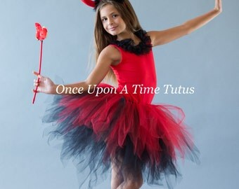 Black Red Pixie Tutu - Girls Size 3 6 9 12 18 Months 2T 3T 4T 5T 6 7 8 10 12 Adult - Little Girls Devil Halloween Costume - Teen Tween Skirt
