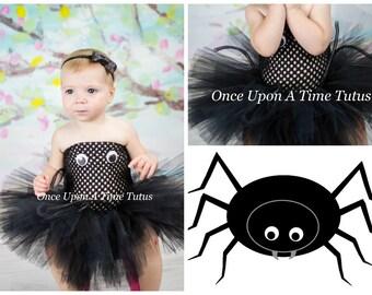 Ready To Ship - Silly Spider Tutu Dress - Girls Size Newborn 3 6 9 12 18 Months 2T 3T 4T 5 6 7 8 10 12 - Black Arachnid Halloween Costume