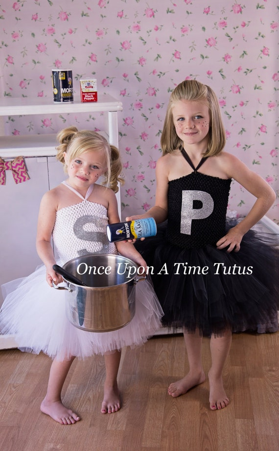 Ready To Ship - Salt or Pepper Shaker Tutu Dress - Girls Size Newborn 3 6 9 12 18 Months 2T 3T 4T 5 6 - Sibling Food Halloween Costume
