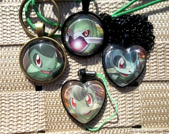 Axew and Fraxure glass Pendant Necklace made from Trading Cards