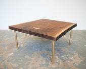 Coffee Table - Read to Ship - Live Egde Walnut Slab and Brass Base