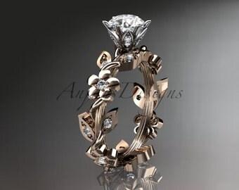 14kt rose gold diamond leaf and vine wedding ring,engagement ring ADLR209