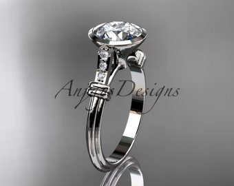 "Platinum diamond leaf and vine wedding ring,engagement ring with ""Forever One"" Moissanite center stone ADLR23"