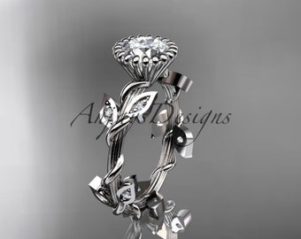 "platinum diamond leaf and vine wedding ring,engagement ring with a ""Forever One"" Moissanite center stone ADLR20A"