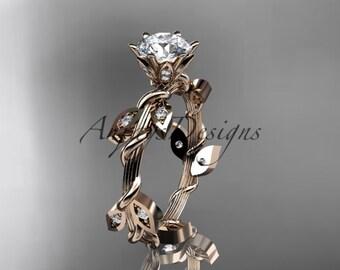 14kt rose gold diamond leaf and vine wedding ring, engagement ring ADLR20