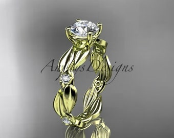 14kt yellow gold diamond leaf and vine wedding ring,engagement ring ADLR58