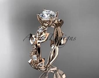 "14kt rose gold diamond leaf and vine wedding ring, engagement ring with ""Forever One"" Moissanite center stone ADLR59"