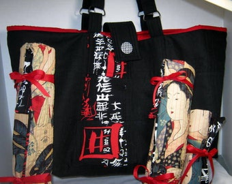 Yarn Tote Set Black Red Oriental Japanes Ladies, Premium Fabric Craft Project Bag with Needle Holder Rolls