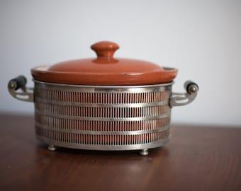 Vintage Casserole Soup Crock Dish - Serving Crock Pot Vintage Kitchen Orange Bowl