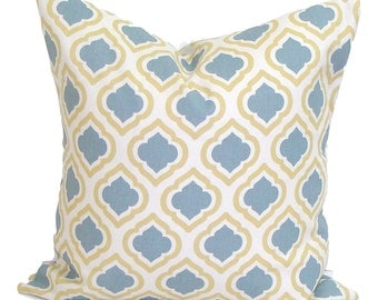 BLUE YELLOW PILLOW.18x18 inch.Decorative Pillow Cover.Home Decor.Housewares.Slate.Saffron Gold Slate Gray.Grey.Ikat. Pillow.Cm.Cushion Cover