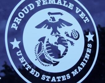 Proud Female Veteran USMC Decal
